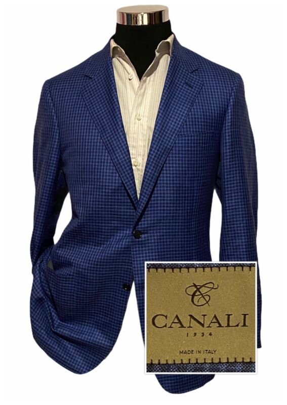 CANALI Men's Wool Silk Linen Blazer Jacket Sport Coat Check SZ 44R Current Tag
