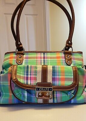 Chaps Plaid Fabric Handbag Purse (Zipper, Print Lining, Shoulder, Leather Trim) Plaid Fabric Handbags