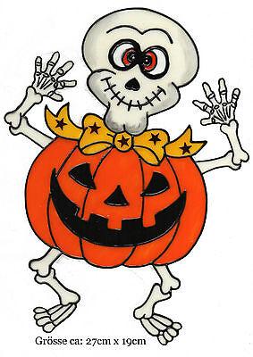 Window Color Bild Fensterbild Aufkleber Halloween Skelett leuchtet Nachts (169)
