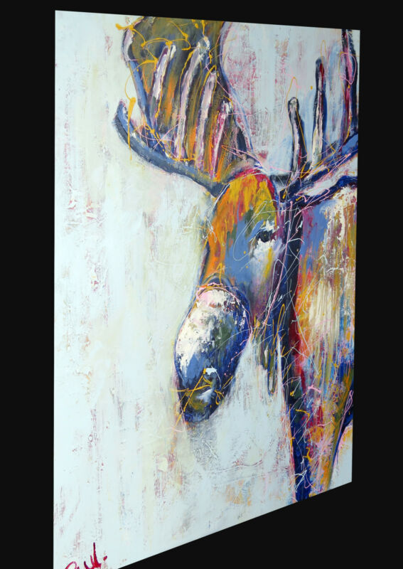 Graffiti Street Art Stag deer Moose Print Large Canvas Painting Australia