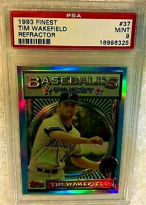 TIM WAKEFIELD 1993 TOPPS FINEST REFRACTOR 37 PSA 9 MINT VERY RARE PIRATES - $93.75