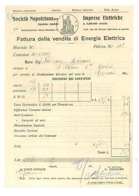 SOCIETA' NAPOLETANA IMPRESE ELETTRICHE 12 FATTURA ENERGIA ELETTRICA 1911 NAPOLI
