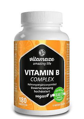 Vitamin B Komplex Tabletten hochdosiert vegan B1 B2 B3 B5 B6 B12 Biotin Folsäure ()