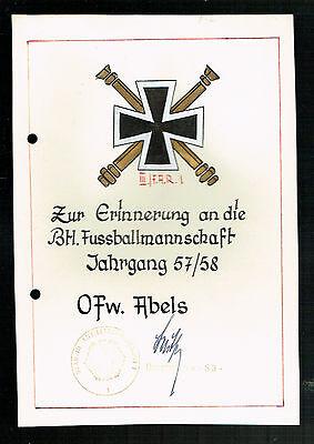 URKUNDE: ZUR ERINNERUNG a.d. FUSSBALLMANNSCHAFT JAHRGANG 57/58