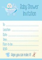 Baby Shower Boy Blue Invitations - Qty 16 With Or Without Envelopes A6 In Size - ezstickers - ebay.co.uk