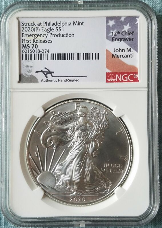 2020 (P) $1 Silver Eagle Philadelphia Emergency Issue NGC MS70 FR Mercanti