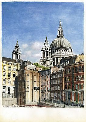 Signed, Limited Edition Print of a Watercolour Painting of St Paul's Cathedral