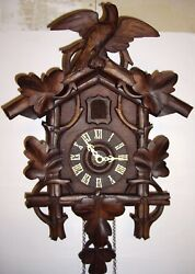 Antique black forest German cuckoo clock, runs and cuckoos