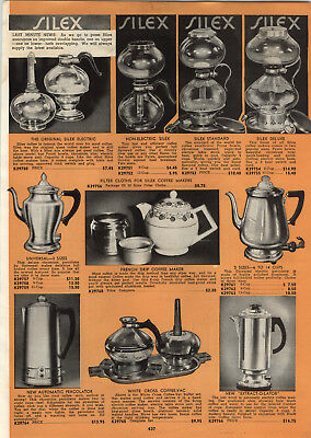 1939 PAPER AD Silex Double Glass Coffee Brewer Maker Electric Non White Cross