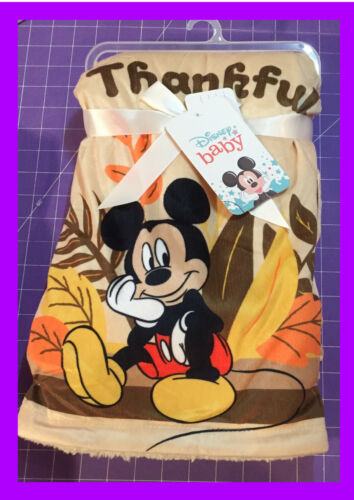 🌴 Disney Baby Mickey Mouse THANKFUL BABY BLANKET Mink & Sherpa 30x40 NEW
