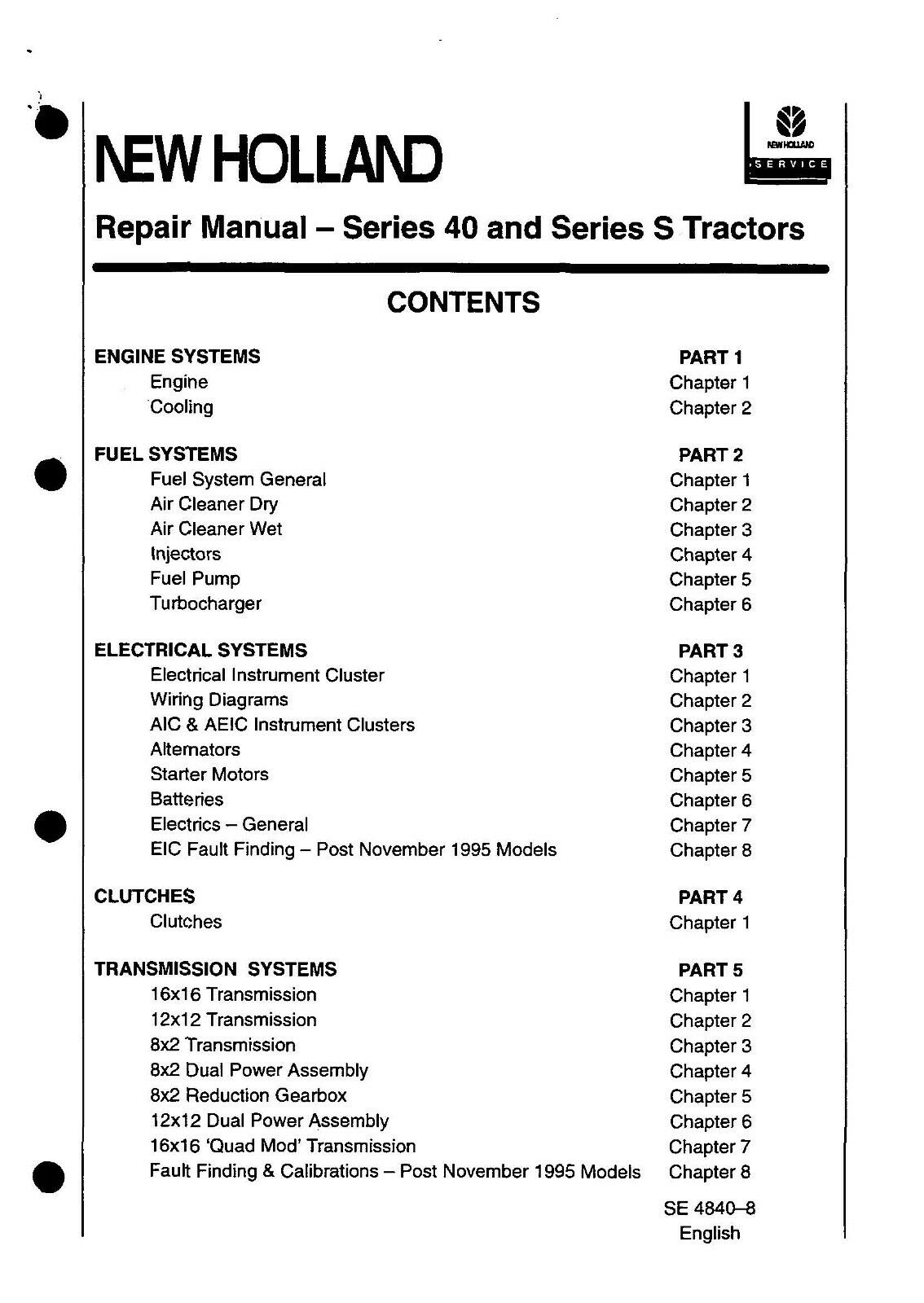 Ford 6640 Wiring Diagram Trusted Diagrams 3415 New Holland 40 5640 7740 7840 8240 8340 Repair Service 10 For 6 4 Wipers