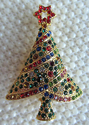 -  CHRISTMAS TREE AUSTRIAN CRYSTAL GOLD TONE BROOCH PIN