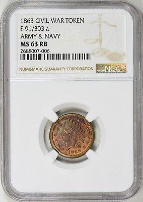 1863 Civil War Token Army & Navy F-91/303a NGC MS-63 RB