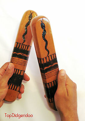 Aborigen Clap Palos Didgeridoo Cierre Tallado a Mano & Quemada Madera Music