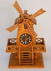 VINTAGE GERMAN HAND CRAFTED WOOD WINDMILL MANTEL / DESK CLOCK