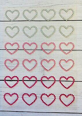 Valentine Day Crafts (24 Heart Gemstone Stickers Embellishments Valentine's Day Card DIY Crafts)