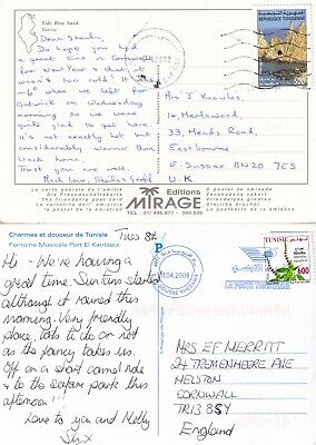 RR4945 Tunisia 10 different solo stamped postcards UK Germany 1982 - 2011