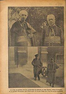 """Cardinal Mercier Archevêque de Malines Mgr Heylen Evêque WWI 1917 ILLUSTRATION - France - Commentaires du vendeur : """"OCCASION"""" - France"""