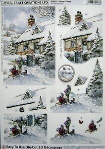 3D Christmas DIE CUT decoupage - SNOWY COTTAGE - DCD613