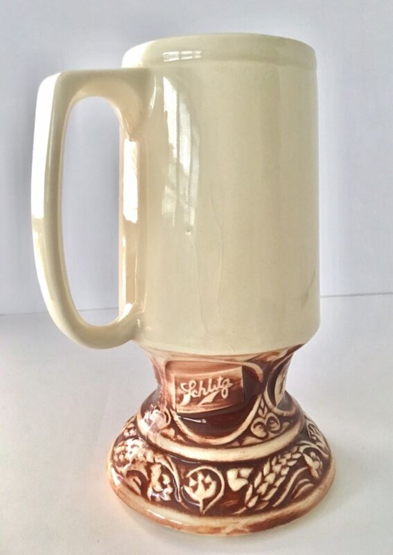 "Vintage Schlitz Beer Ceramic Stein 7"" Mug Milwaukee Wisconsin Barware Porcelain"
