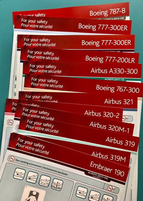 12 AIR CANADA SAFETY CARDS SET--E190-787