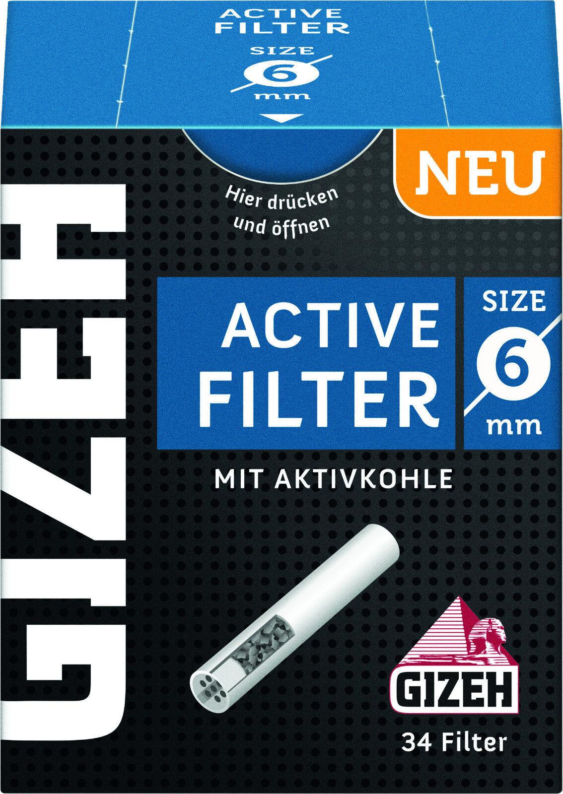 Gizeh Active Filter Slim 5 x 34er Ø 6 mm - 34 Stk Aktivkohle - Joint Tips -