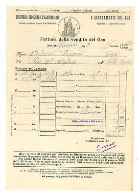 COMPAGNIA NAPOLITANA D'ILLUMINAZIONE E SCALDAMENTO CON GAS 4 FATTURA 1913 NAPOLI