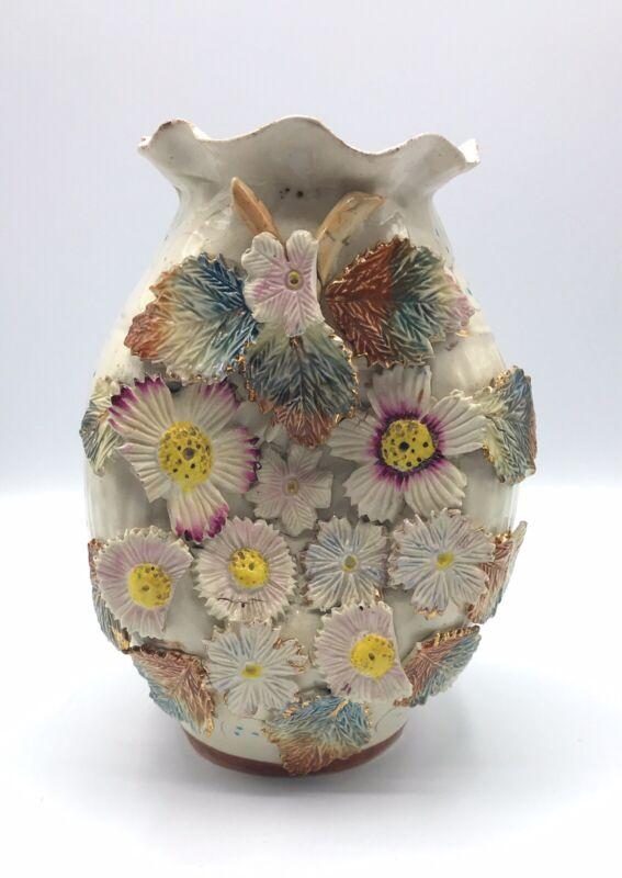 Antique Sand Vase Majolica, Victorian Cream Wild  Flowers Pottery Vase