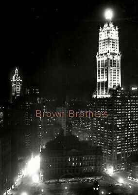 1920s NYC Woolworth Building @ Night Lights 8x10 Glass Camera Negative #6 - BB