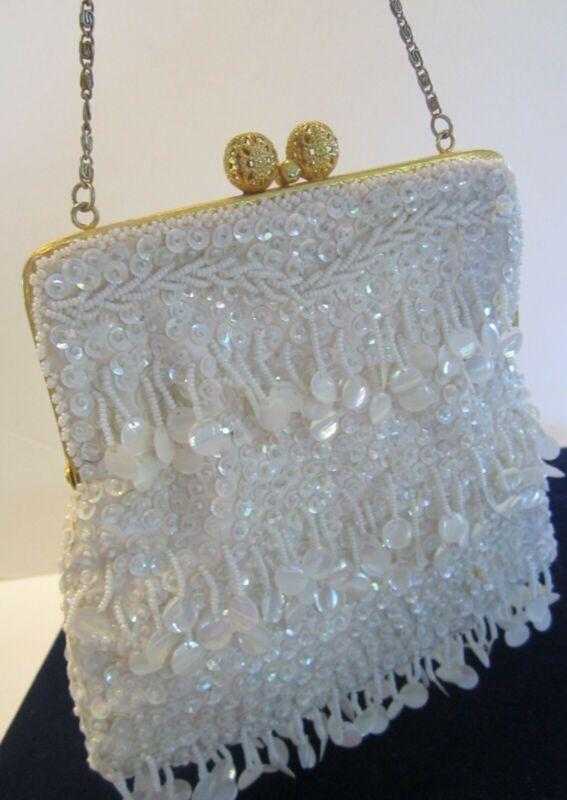 VTG White Vivant By Sarne Wedding Sequins Italian Beaded Evening Bag Cocktail