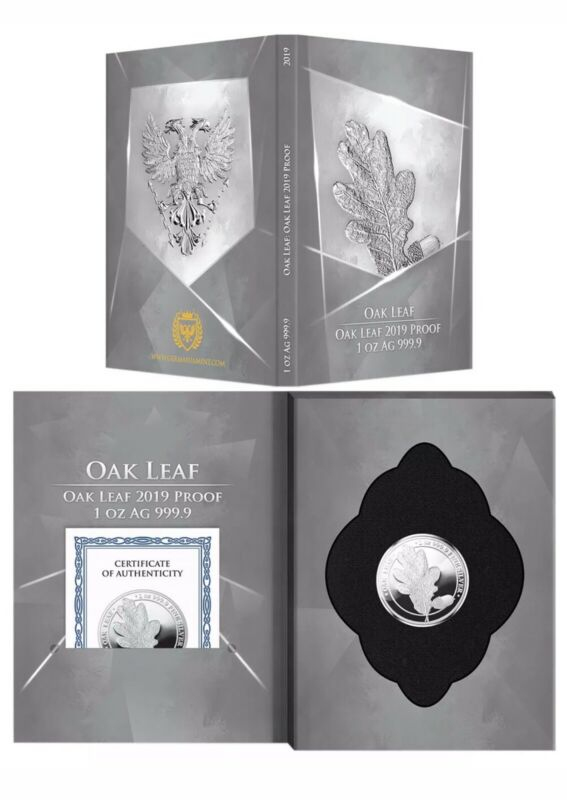 2019 Germania Mint 5 Mark Oak Leaf Proof 1 oz Silver Mintage 1,000 COA Nice Ebux
