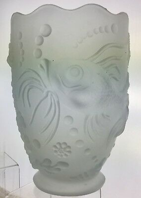 FROSTED ART GLASS VASE FISH FLOWER SEA STAR BUBBLES SCALLOPED RIM