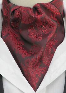 Mens Burgundy & Black Paisley Silk Satin Ascot Cravat & Handkerchief - Vintage