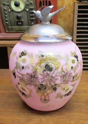 Antique Pink Bristol Glass Hand Painted  Biscuit Cookie Jar with Metal Bird Lid