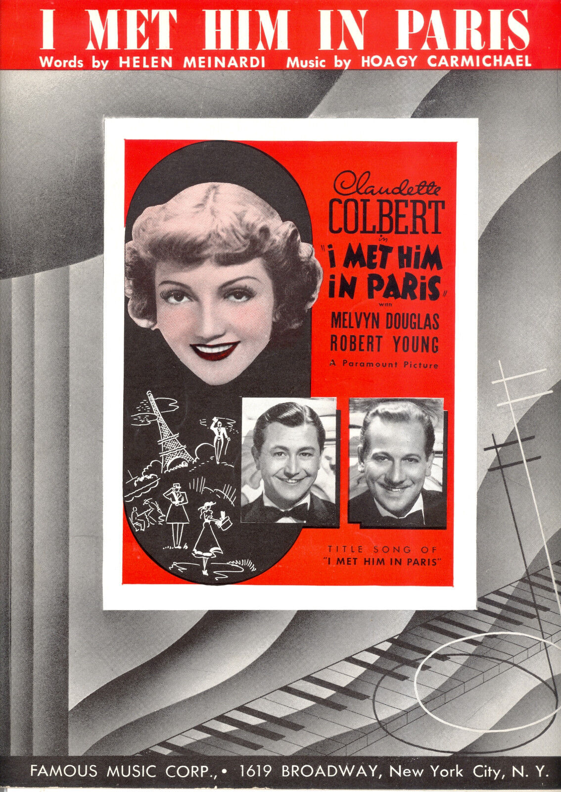 I MET HIM IN PARIS Slab Music Claudette Colbert Melvyn Douglas Robert Young
