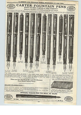 1926 PAPER AD Carrter Inx Products Fountain Pen Store Display Showcase