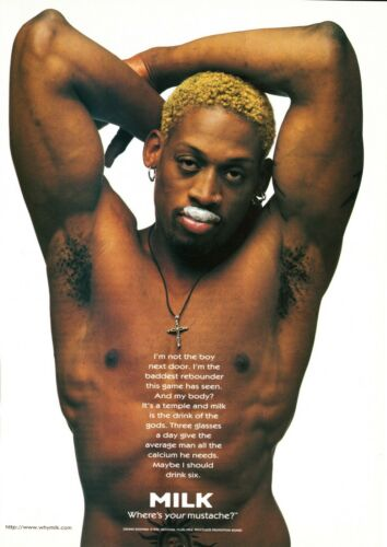 GOT MILK? AD 1996 DENNIS RODMAN ~ RETIRED HALL OF FAME BASKETBALL PLAYER #2