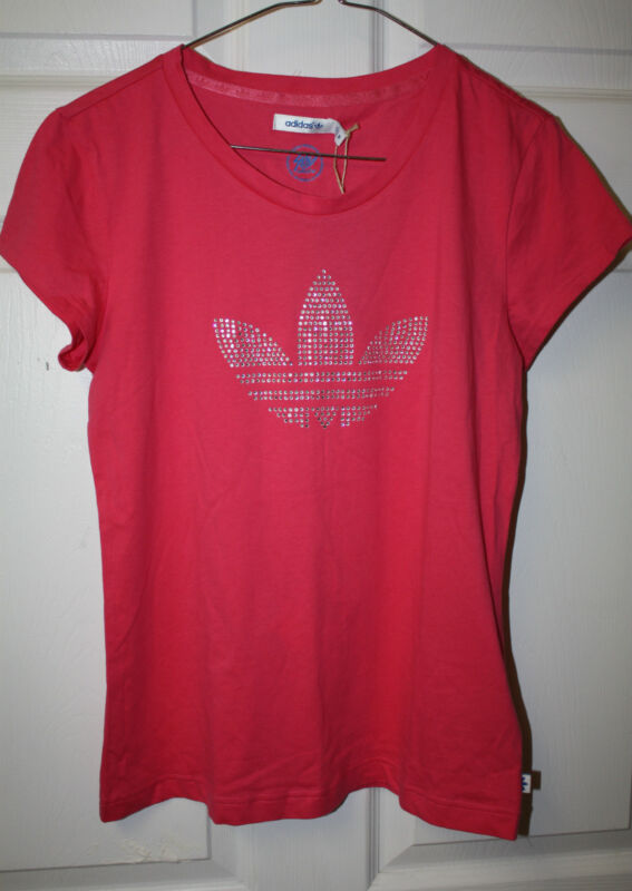 Womens Ladies NWT Adidas Originals Pink Beaded Logo Short Sleeve T-Shirt Sz M