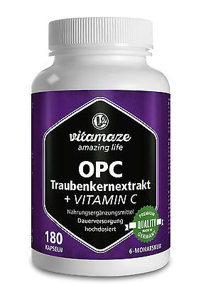 Vitamin C Kapseln (OPC Traubenkernextrakt + Vitamin C 180 Kapseln für 6 Monate Traubenkern Premium)