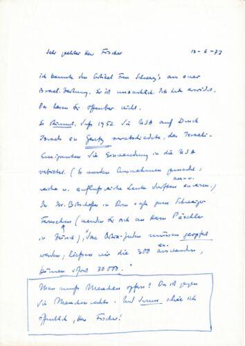 Luise Rinser - Two-Sided Handgeschriebener Letter, 1977, Original, Autograph