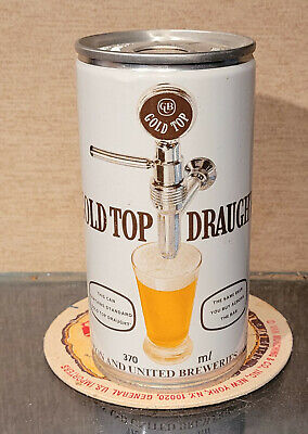 GOLD TOP DRAUGHT 370mL CRIMPED PULL TAB  BEER CAN QUEENSLAND BRISBANE AUSTRALIA