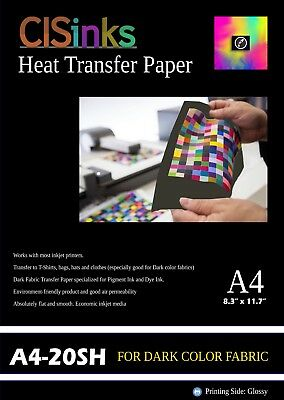 20 Sheets Dark Fabric Inkjet Heat Transfer Paper A4 8.27 X 11.7 For Cotton