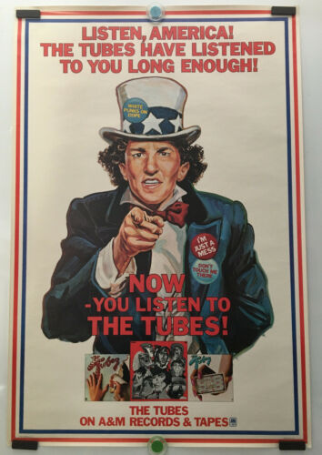 """THE TUBES_ORIGINAL, RARE 1977 PROMO POSTER FOR THE TUBES """"NOW"""" RECORD_24"""" x 36 """""""