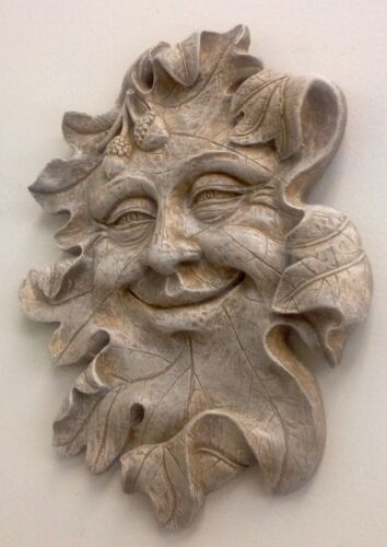 Acorn Green Man Leaf Face Mythical  Wall  Plaque Antique Finish
