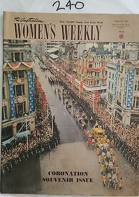 AUSTRALIAN WOMENS WEEKLY 1953 JUNE 24,CORONATION ISSUE,MOBIL,FASHION,ADS *WOW*