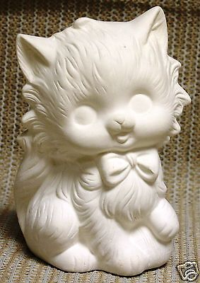 Ceramic Bisque Cat with Bow POHC 225 U-Paint Ready To Paint Atlantic