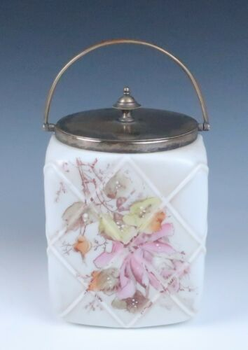 Antique Wavecrest Square Glass Biscuit Cracker Jar Barrel w/ Raised Enamel