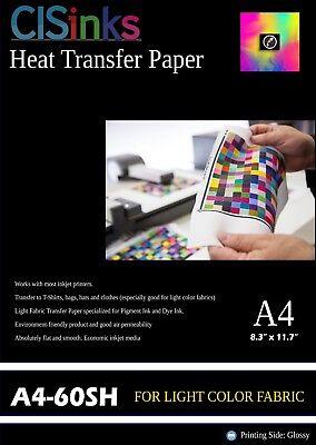 60 Sheet Light Fabric Inkjet Heat Transfer Paper A4 8.27 X 11.7