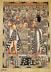 Egyptian-Hand-painted-Papyrus-Signed-Art-King-Tut-Queen-Wedding-Scene-12-x16