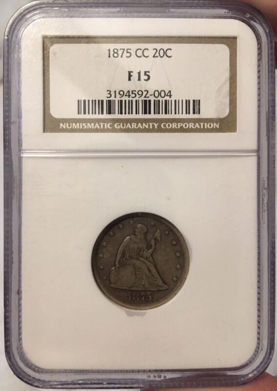 1875 cc twenty cent piece NGC F 15